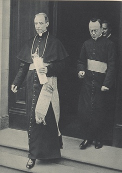 "Leiber (on right) with Pacelli, - ""If the Pope had protested publicly, what then? Hitler did as he liked."" Leiber (speaking in 1966) concluded Pius XII clung to this ""firm conviction: that it was better to keep silent.""[21]"