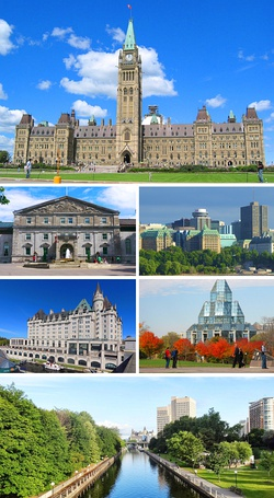 Centre Block on Parliament Hill, the Government House, Downtown Ottawa, the Château Laurier, the National Gallery of Canada and the Rideau Canal