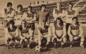 Rapid București team in the 1974–75 season, in which they promoted in the first league and also won the Romanian Cup.