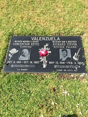 Grave of Valens and his mother Concepcion at San Fernando Mission Cemetery