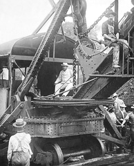 President Theodore Roosevelt sitting on a Bucyrus steam shovel at Culebra Cut, 1906