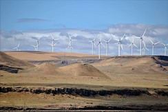 The Shepherds Flat Wind Farm is an 845 megawatt (MW) nameplate capacity, wind farm in the US state of Oregon, each turbine is a nameplate 2 or 2.5 MW electricity generator.