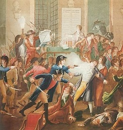 The arrest of Maximilien Robespierre and his followers showing at the centre of the image gendarme Merda firing at Robespierre (colour engraving by Jean-Joseph-François Tassaert after the painting by Fulchran-Jean Harriet, Carnavalet Museum)