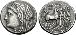 Philistis, wife of Hiero II, on a tetradrachm minted between 218 and 214 BC