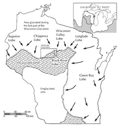 Extent of glaciation in Wisconsin