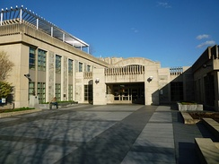 Entrance to Tisch Library, the main library on campus