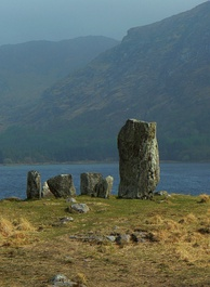 The Uragh Stone Circle, a Neolithic stone circle in Tuosist, close to Gleninchaquin Park, County Kerry