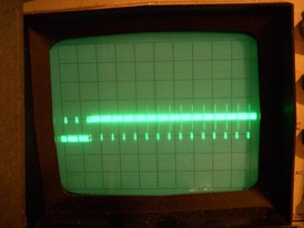 Beginning of the frame, showing several scan lines; the terminal part of the vertical sync pulse is at the left