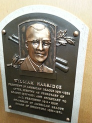 Will Harridge's plaque in the Baseball Hall of Fame