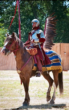 A historical reenactment of a Polish Winged Hussar, 2013