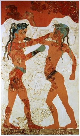 The martial art of boxing was practiced in the ancient Thera.