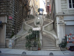 Camondo Steps at Bankalar Caddesi (Banks Street) in Galata, constructed by Ottoman-Venetian Jewish banker Abraham Salomon Camondo, c. 1870–1880.