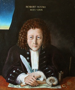 Posthumous portrait of Robert Hooke by Rita Greer (2004), based on descriptions by Aubrey and Waller