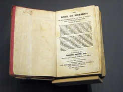 1841 First European (London) edition of the Book of Mormon, at the Springs Preserve museum, Las Vegas, Nevada.