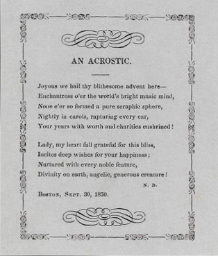 "An 1850 acrostic by Nathaniel Dearborn, the first letter of each line spelling the name ""JENNY LIND"""