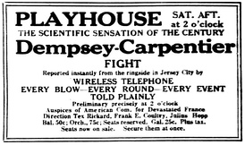Advertisement promoting theater attendance to hear the ringside commentary broadcast by RCA's temporary station, WJY (1921)
