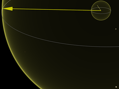 1e16m lengths: Ten light years (94.6 Pm) yellow shell; Sirius below right; BL Ceti below left; Proxima and Alpha Centauri upper right; light year shell with Comet 1910 A1's orbit inside top right