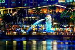 A symbol of Singapore, the Merlion was erected in 1964