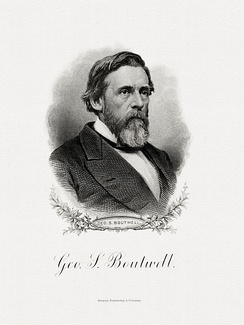 Bureau of Engraving and Printing portrait of Boutwell as Secretary of the Treasury.