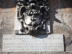 Barberini arms in Rome on a plaque commemorating Urban VIII.
