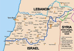 Map showing the Blue Line demarcation line between Lebanon and Israel, established by the UN after the Israeli withdrawal from southern Lebanon in 1978