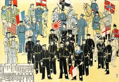 Painting of Western, Russian and Japanese troops