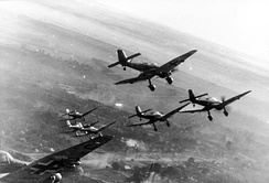 A flight of Ju 87 D-5s over the Eastern Front, winter 1943–44.