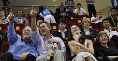 George W. Bush, Marvin Bush, Barbara Bush and Laura Bush at the Beijing 2008 Summer Olympics Games.