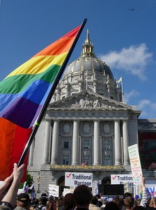 Pro- and anti-Proposition 8 protesters clash at a rally in front of San Francisco City Hall.