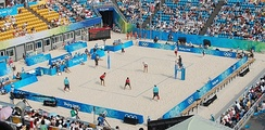 A beach volleyball match at the 2008 Summer Olympics