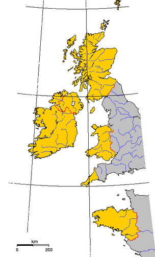 The six Celtic nations within their modern borders are shown in yellow