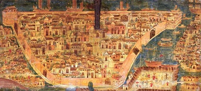 Old oil painting of Manila, a walled city