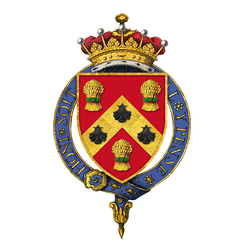 Garter-encircled arms of Anthony Eden, 1st Earl of Avon, KG – Gules on a chevron between three garbs or, banded vert, as many escallops sable.