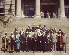 Speakers and presiding officers from various Commonwealth nations meet for a Commonwealth Speakers and Presiding Officers Conference in Wellington, New Zealand, 1984