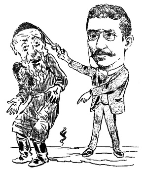 Romanian Jewish journalist Sache Petreanu, an advocate of assimilation, cutting off the payot of an observant Jew (1899 caricature by Constantin Jiquidi)