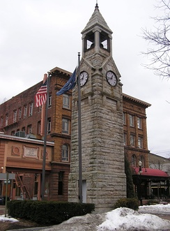 Corning Clock Tower at Market and Pine Streets in downtown Corning.