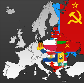 Communist countries and Soviet Republics in Europe with their representative flags (1950s)