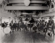 Armstrong was a member of Fate Marable's New Orlean's Band in 1918, here on board the S.S. Sidney.