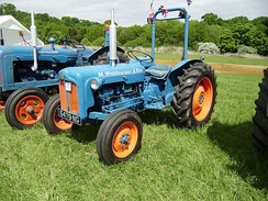 Rollover protection bar on a Fordson tractor.