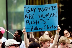 """Gay Rights are Human Rights"", a quote by Democratic Secretary of State and U.S. Senator from New York Hillary Clinton"