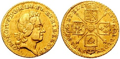 A 1718 quarter-guinea coin from the reign of George I, showing him in profile