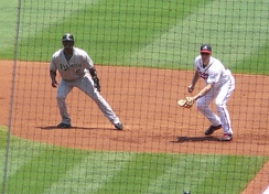 Ramírez (left) leading off first against the Atlanta Braves in 2008.