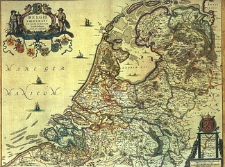 Historical map of the Netherlands (1658) with the Zuyder Zee