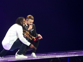 Timberlake performing on his 20/20 Experience Tour in Charlotte, North Carolina