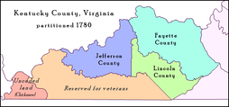Jefferson County in 1780, as established by the Virginia General Assembly