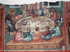 A Kremikovtsi Monastery fresco (15th century) depicting the Last Supper celebrated by Jesus and his disciples. The early Christians too would have celebrated this meal to commemorate Jesus' death and subsequent resurrection.