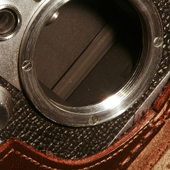 Detail of the mounting of a Leica IIIf