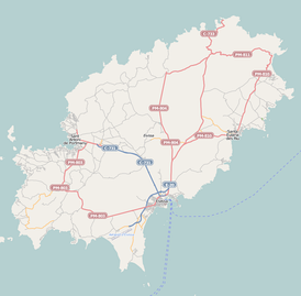Map of roads and Ibiza Airport (on southern point) and water routes (click map to enlarge).