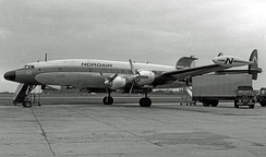 L-1049H freighter of Nordair Canada at Manchester Airport in 1966