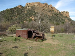 M*A*S*H site in Malibu Creek State Park. Hulk of a Dodge WC54 ambulance. Copy of the original M*A*S*H signpost was installed on the site in 2008.